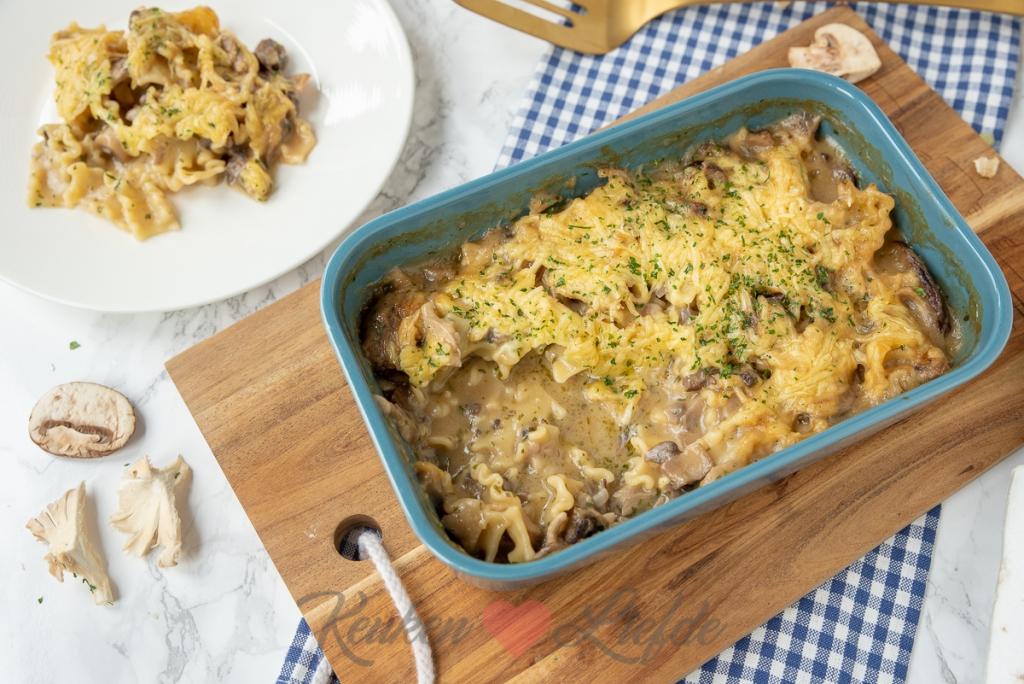 Makkelijke ovenpasta met champignonroomsaus