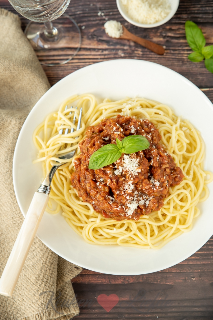 Spaghetti bolognese met courgette