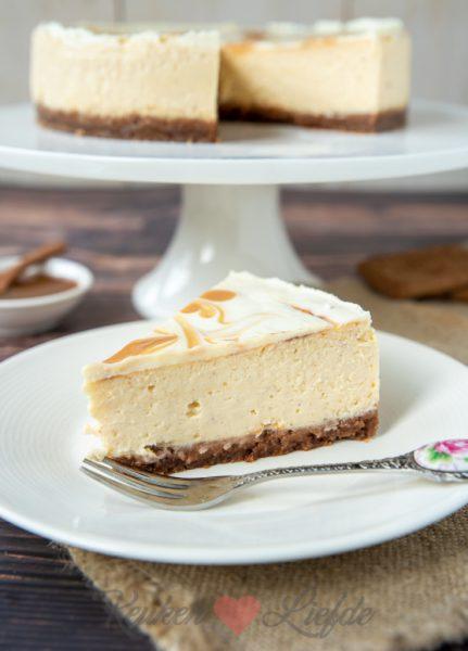 Speculaas cheesecake met karamel swirl
