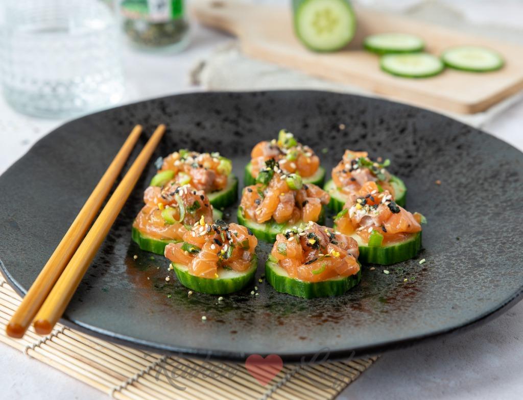 Komkommerhapje met zalmtartaar