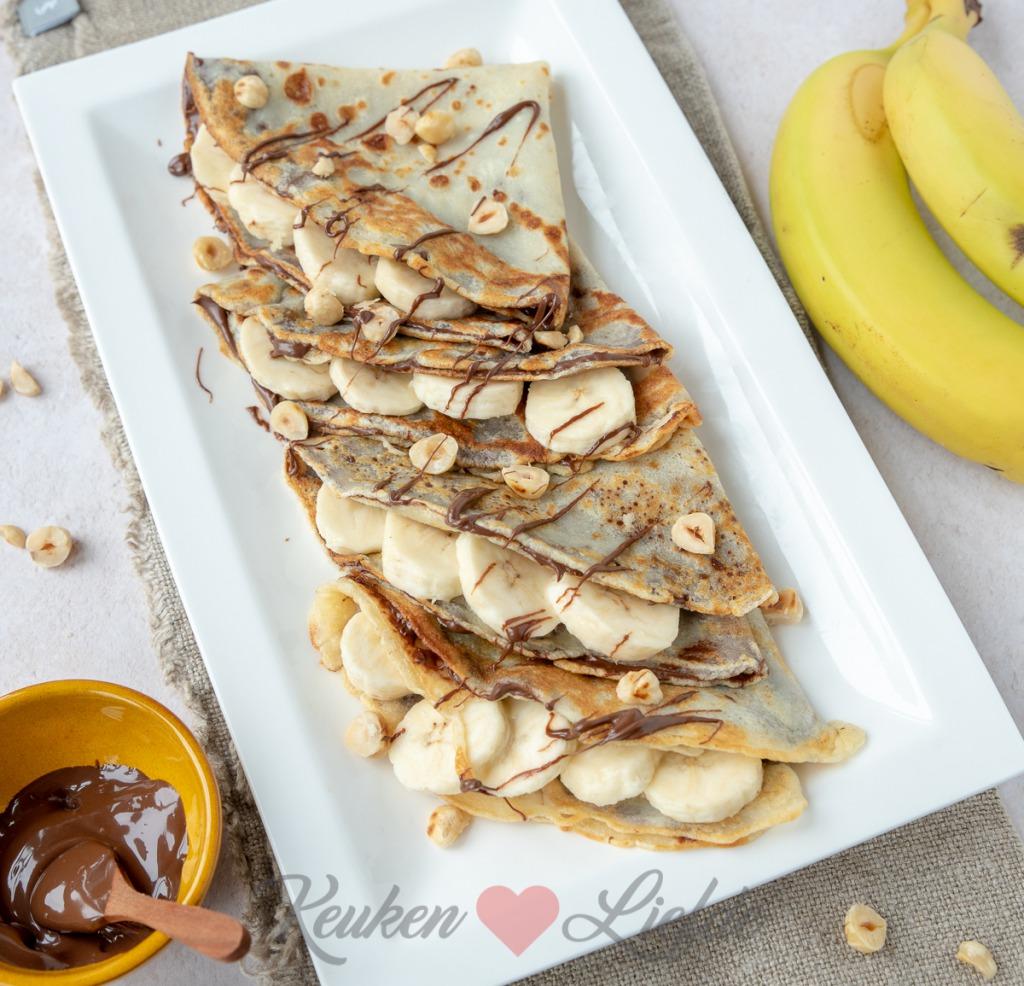 Flensjes met Nutella en banaan