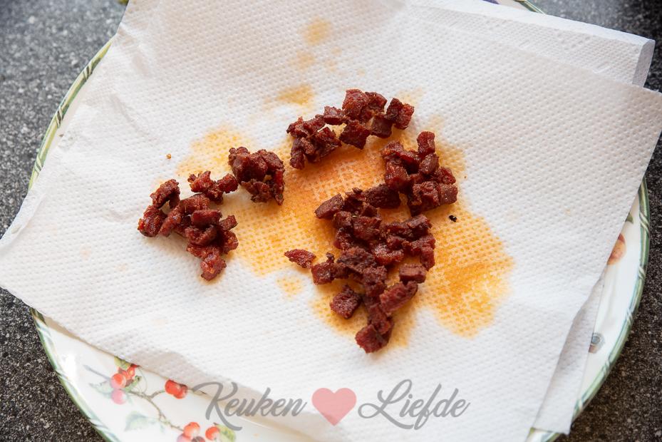 Spruitjes stamppot met krokante chorizo
