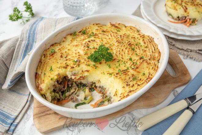 Cottage pie met gehakt en groenten