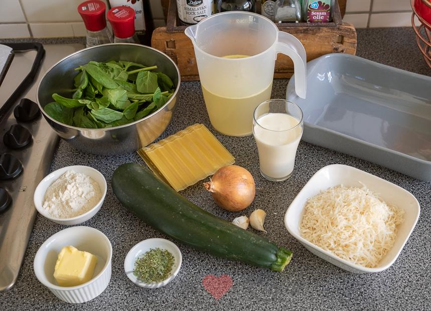 Romige groentelasagne met spinazie en courgette