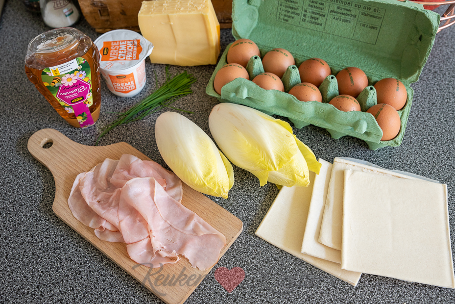 Witlofquiche met ham en kaas uit Koken met KeukenLiefde