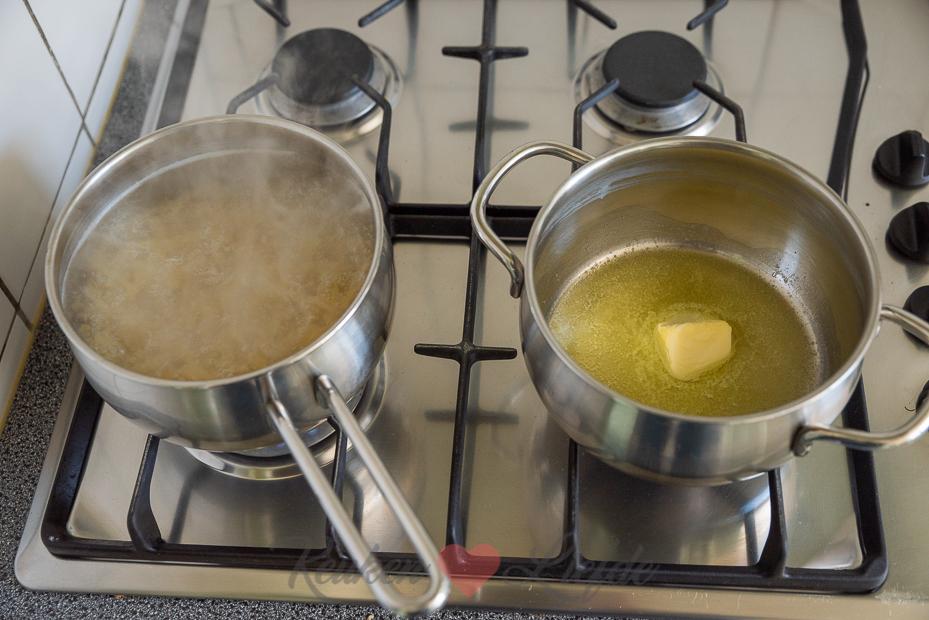 Pasta ovenschotel met ham, champignons en prei