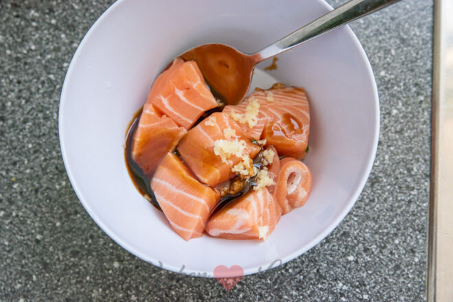 Zalm teriyaki spies