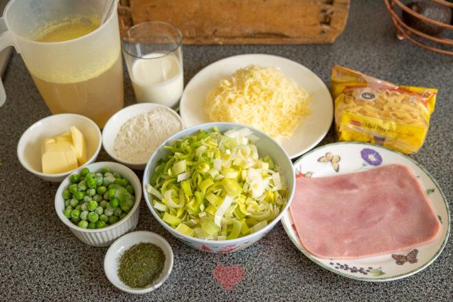 Ovenpasta met prei en ham