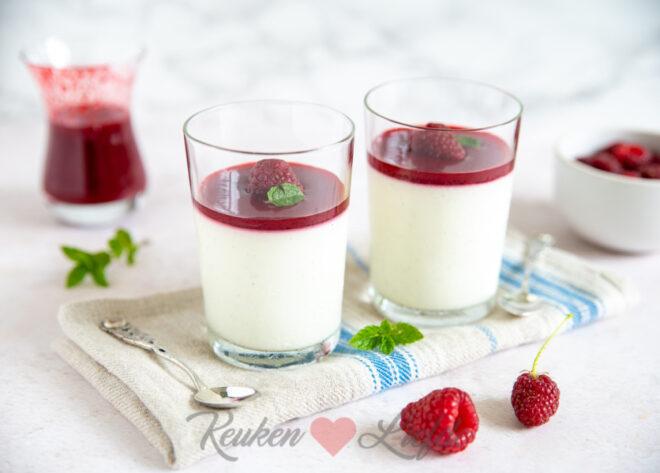 Yoghurt panna cotta met frambozensaus