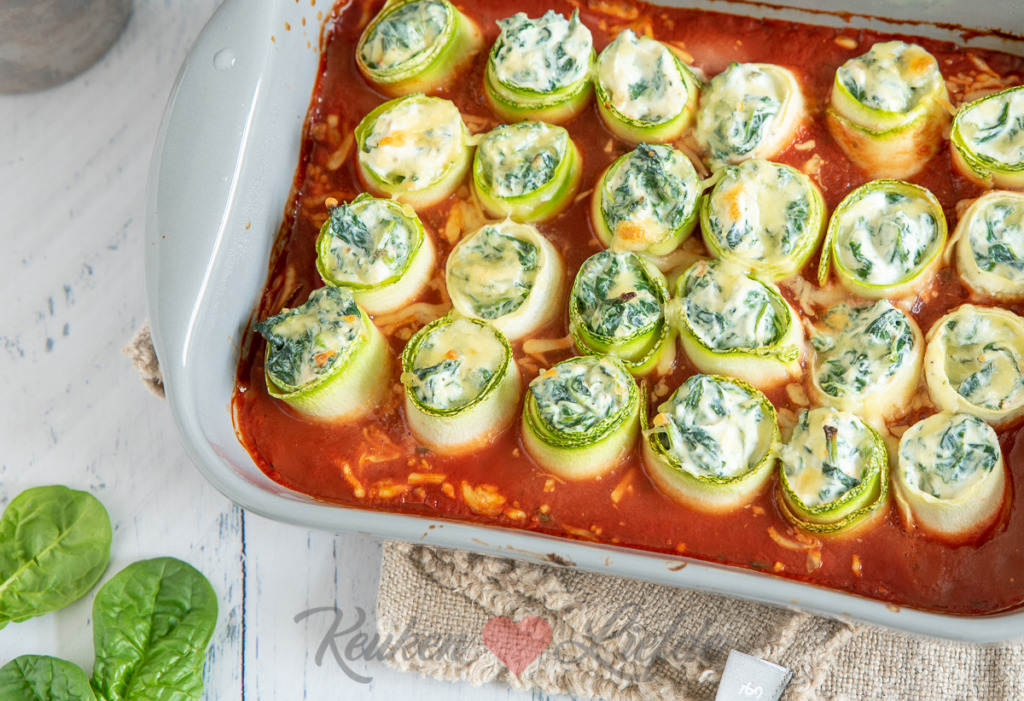 Courgette cannelloni met spinazie en ricotta