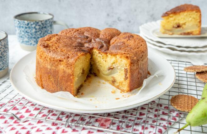 Stroopwafelcake met peer