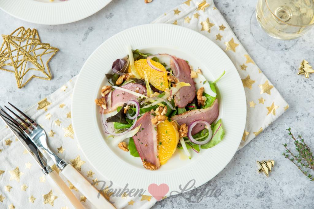 Salade met eendenborst en sinaasappel