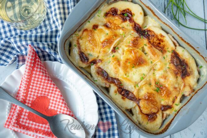 Aardappelgratin met spekjes en raclettekaas