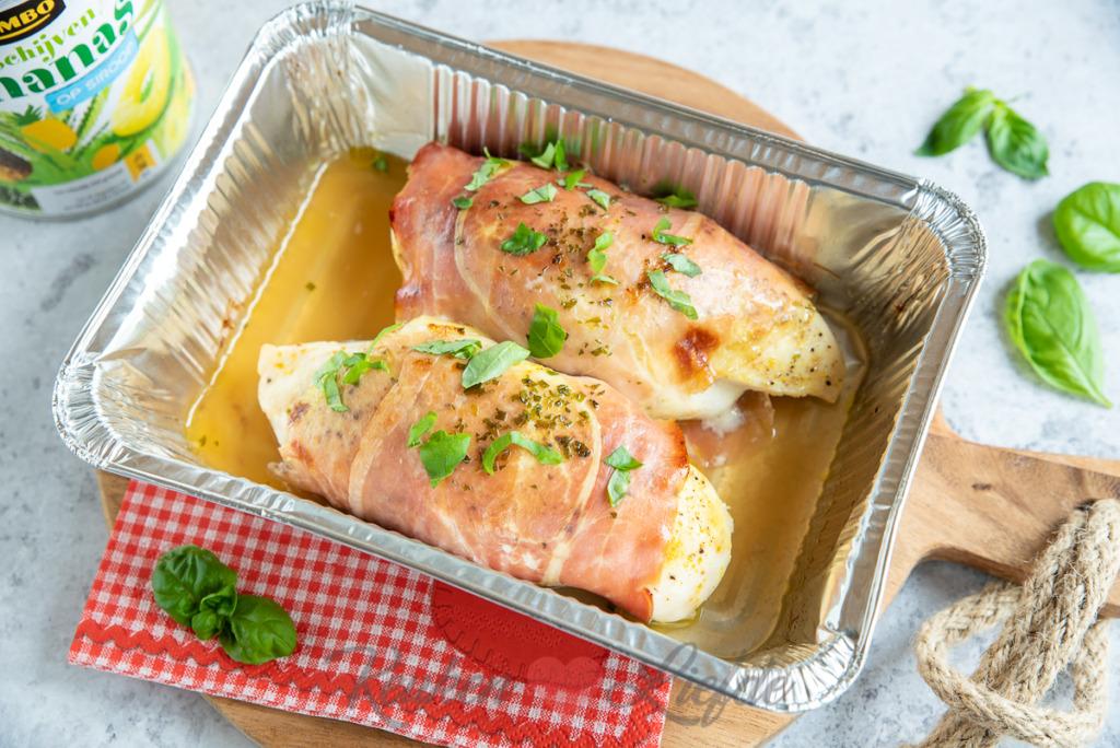 Gevulde kip met brie en ananas
