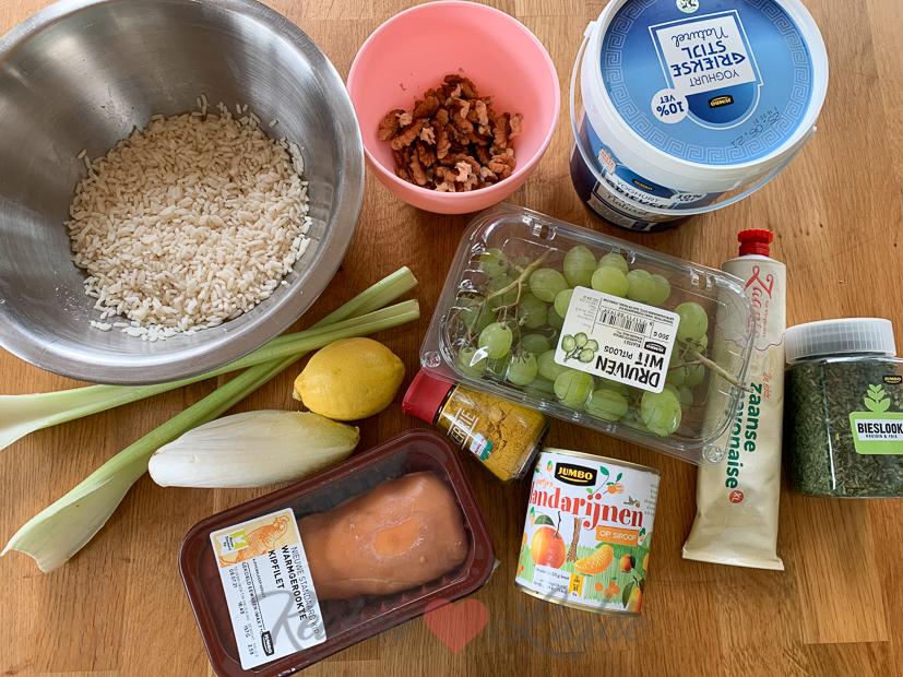 Rijstsalade met kip en witlof